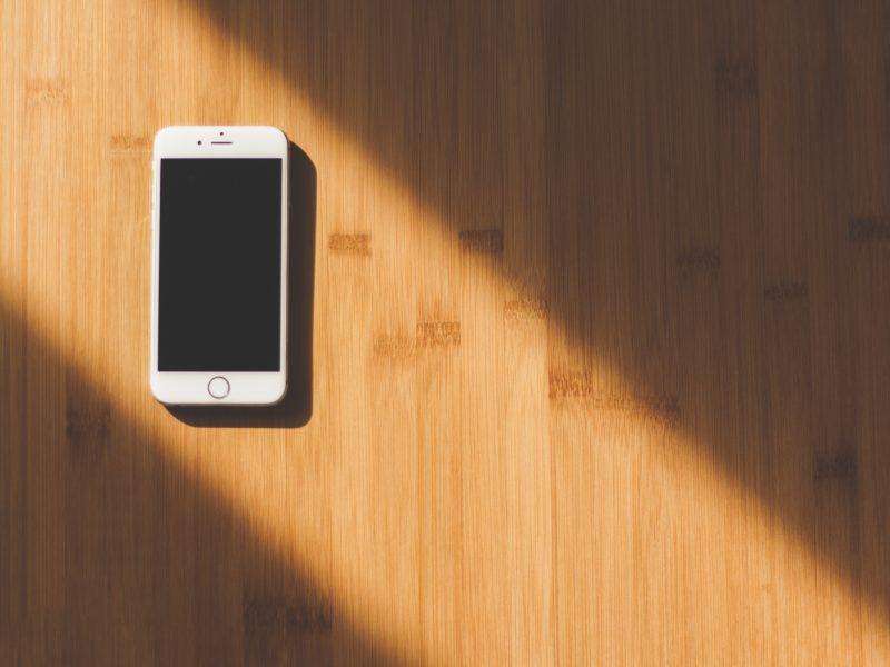 mobile phone on desk