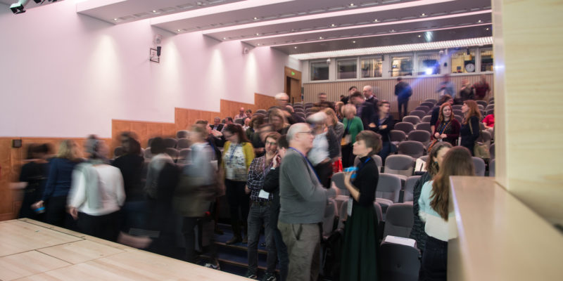Members of the audience talk in the conference venue at Museums+Tech 2019